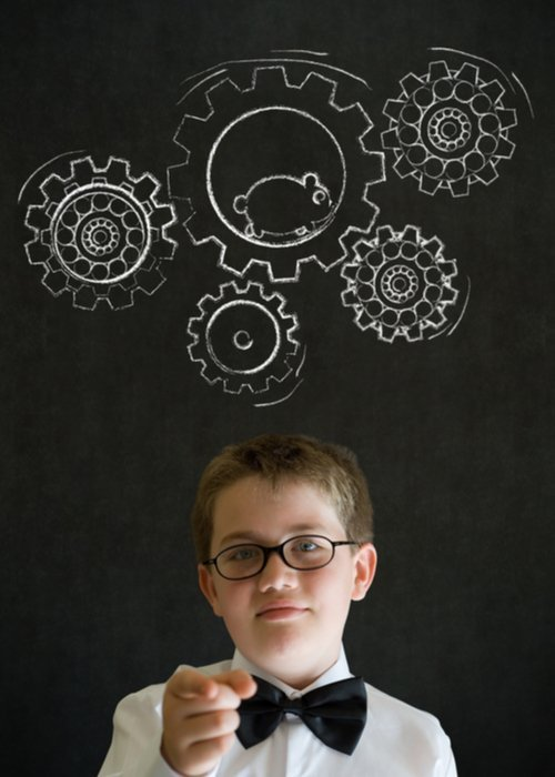 Geeky boy with cogs above his head